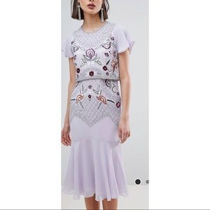FROCK and FRILL Beaded Embrd Midi Dress Sz 4 ASOS